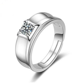 Limited Edition Sterling Silver Cubic Zirconia Solitaire Adjustable Mens Rings DC- 115