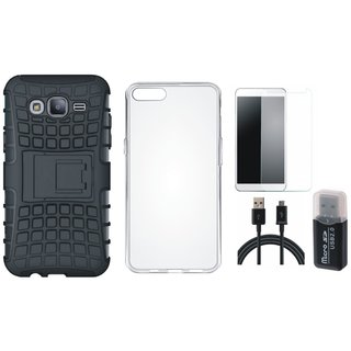 Oppo F5 Shockproof Kick Stand Defender Back Cover with Memory Card Reader, Silicon Back Cover, Tempered Glass and USB Cable
