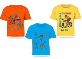 Pari  Prince Mulicolor Kids Round Neck T-shirts (Set of 3)
