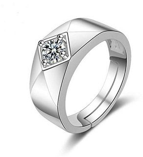 Limited Edition Sterling Silver Cubic Zirconia Solitaire Adjustable Mens Rings DC- 118