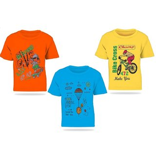 Pari  Prince Mulicolor Kids Round Neck T-shirts (Set of 3)
