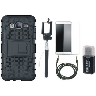Vivo V3 Shockproof Tough Armour Defender Case with Memory Card Reader, Free Selfie Stick, Tempered Glass and AUX Cable