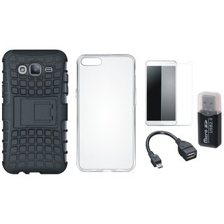 Vivo V3 Defender Tough Hybrid Shockproof Cover with Memory Card Reader, Silicon Back Cover, Tempered Glass and OTG Cable