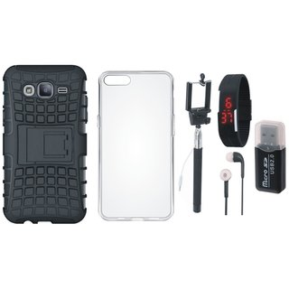 Oppo F5 Dual Protection Defender Back Case with Memory Card Reader, Silicon Back Cover, Selfie Stick, Digtal Watch and Earphones