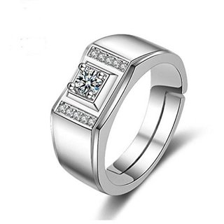 Limited Edition Sterling Silver Cubic Zirconia Solitaire Adjustable Mens Rings DC- 119