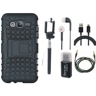 Vivo V3 Shockproof Kick Stand Defender Back Cover with Memory Card Reader, Selfie Stick, Earphones, USB Cable and AUX Cable