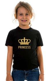 Kids Printed Black T shirt-Princess