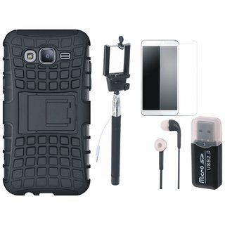 Oppo F5 Defender Back Cover with Kick Stand with Memory Card Reader, Free Selfie Stick, Tempered Glass and Earphones