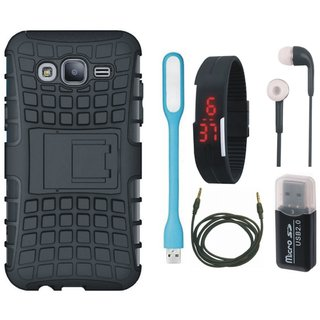 Oppo F5 Shockproof Tough Defender Cover with Memory Card Reader, Digital Watch, Earphones, USB LED Light and AUX Cable
