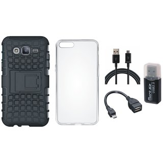 Oppo F5 Shockproof Tough Defender Cover with Memory Card Reader, Silicon Back Cover, OTG Cable and USB Cable