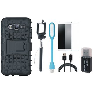 Oppo F5 Defender Back Cover with Kick Stand with Memory Card Reader, Free Selfie Stick, Tempered Glass, LED Light and USB Cable