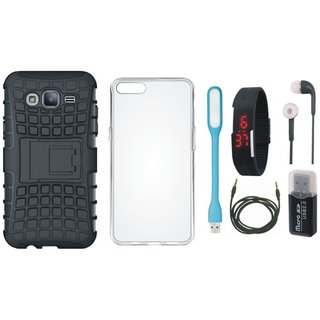 Lenovo K5s Defender Cover with Memory Card Reader, Silicon Back Cover, Digital Watch, Earphones, USB LED Light and AUX Cable