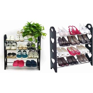 Beauty Quality Plastic Black Shoe Rack 4 Layer shoes organizer foldable Easy
