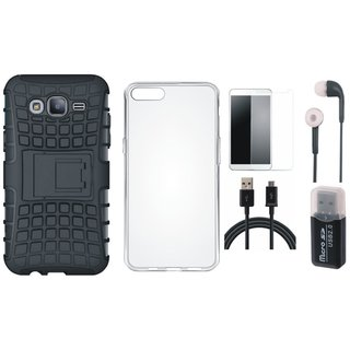 Oppo F1 Plus Shockproof Kick Stand Defender Back Cover with Memory Card Reader, Silicon Back Cover, Tempered Glass, Earphones and USB Cable