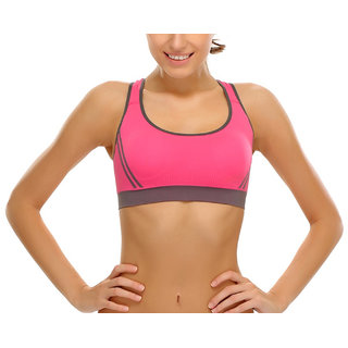 7cb2ecc692485a Buy Hari Om Creation Presents Pink Color Cotton Lycra Sports Bra ...