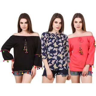 Amiable Casual 3/4th Sleeve Printed Women Blue, Red, Black Top