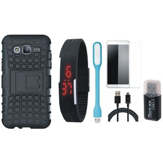 Nokia 3 Defender Tough Armour Shockproof Cover with Memory Card Reader, Free Digital LED Watch, Tempered Glass, LED Light and USB Cable