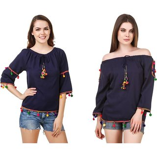 Amiable  Casual 3/4th Sleeve Embroidered Women's Blue/Blue Top