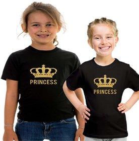 Black Color Sister Sister T-shirt Combo-Princess