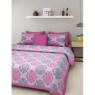 Dinesh Enterprises 1 Double Cotton Printed Bed Sheet With 2 Pillow Covers