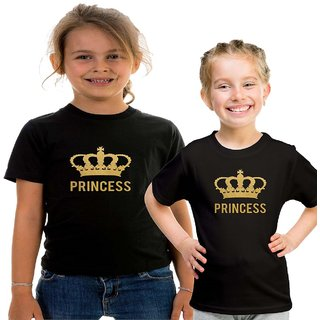 Black Color Sister Sister T-shirt Combo-Princess