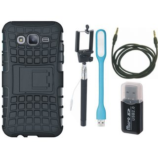 Nokia 3 Shockproof Kick Stand Defender Back Cover with Memory Card Reader, Selfie Stick, USB LED Light and AUX Cable