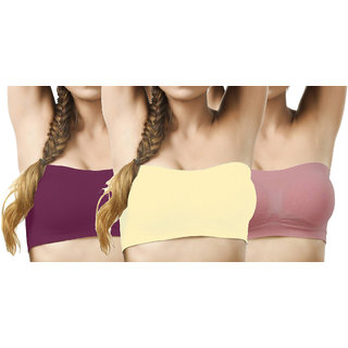 Hothy Wirefree Non-Padded Strapless Tube Bra-(Cream,Maroon,Pale Violet)