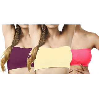 Hothy Wirefree Non-Padded Strapless Tube Bra-(Cream,Maroon,Deep Pink)