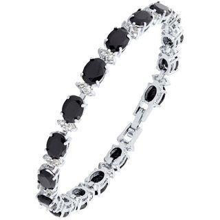 The Jewelbox Italian Classic Rhodium Plated Cz Black Spinel Simulant Bracelet For Girls Women