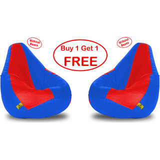 Beanbagwala XXXL RED&R.BLUE BEAN BAG-COVERS(Without Beans)-Buy One Get One Free