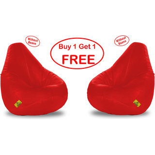 Beanbagwala  Original XXXL BEAN BAG-RED-COVERS(Without Beans)-Buy One Get One Free
