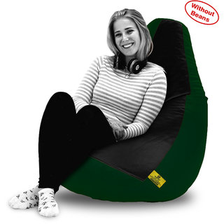 Beanbagwala XXL BLACK&B.GREEN BEAN BAG-COVERS(Without Beans)