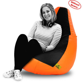 Beanbagwala XXL BLACK&ORANGE BEAN BAG-COVERS(Without Beans)