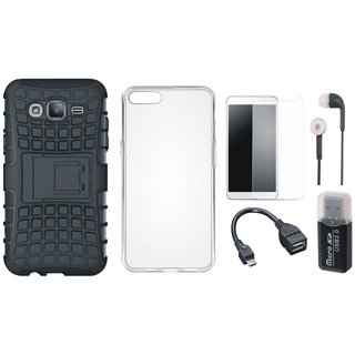 Nokia 3 Shockproof Kick Stand Defender Back Cover with Memory Card Reader, Silicon Back Cover, Tempered Glass, Earphones and OTG Cable