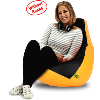 Beanbagwala XL BLACK&YELLOW BEAN BAG-COVERS(Without Beans)