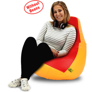 Beanbagwala XL RED&YELLOW BEAN BAG-COVERS(Without Beans)