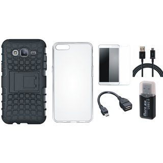 Nokia 3 Shockproof Kick Stand Defender Back Cover with Memory Card Reader, Silicon Back Cover, Tempered Glass, OTG Cable and USB Cable