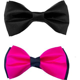 Karton10 Combo of 2 Black  Pink tuxedo Men's Double Bow adjustable neck Pretied bow tie