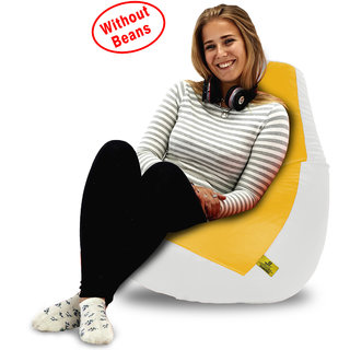 Beanbagwala XL WHITE&YELLOW BEAN BAG-COVERS(Without Beans)
