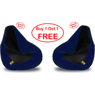 Beanbagwala Black & Blue XL Bean Bag (Without Beans)-Buy One Get One Free