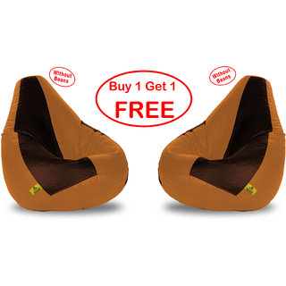 Beanbagwala XL BROWNBEIGE BEAN BAG-COVERS(Without Beans)-Buy One Get One Free