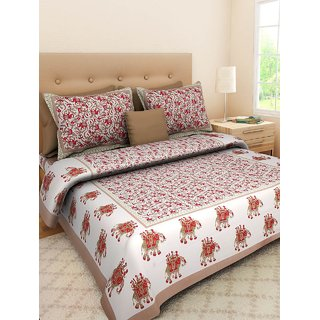 Dinesh Enterprises, 100 Cotton Rajasthani Jaipuri Sanganeri Traditional King Size Double Bed Sheet With 2 Pillow Covers