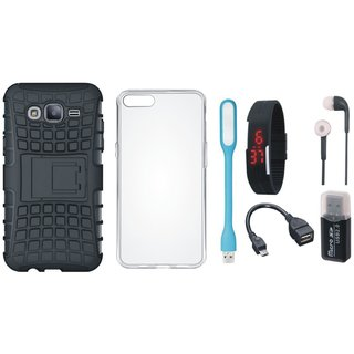 Nokia 3 Shockproof Tough Defender Cover with Memory Card Reader, Silicon Back Cover, Digital Watch, Earphones, USB LED Light and OTG Cable