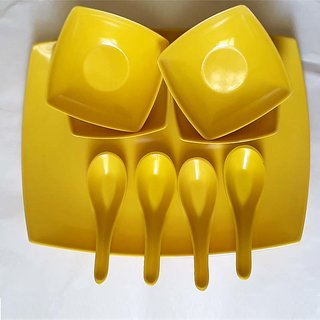 Roni Wares Melamine Yellow Soup Set With Tray Set of 9