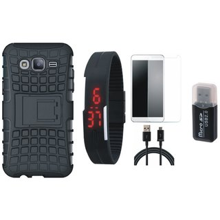 Nokia 3 Shockproof Tough Defender Cover with Memory Card Reader, Free Digital LED Watch, Tempered Glass and USB Cable