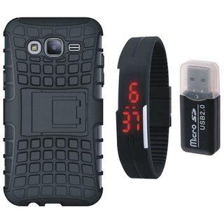 Vivo V5 Plus Shockproof Kick Stand Defender Back Cover with Memory Card Reader, Digital Watch