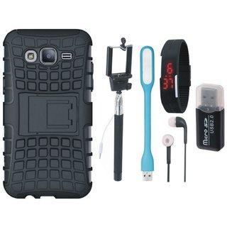 Lenovo K5 Note Shockproof Kick Stand Defender Back Cover with Memory Card Reader, Selfie Stick, Digtal Watch, Earphones and USB LED Light