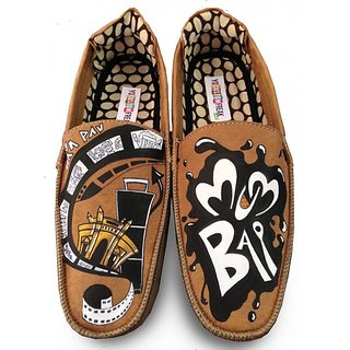 Mumbai Dreamers Brown Hand Painted Loafers