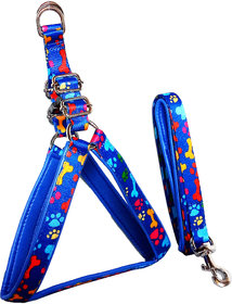 Petshop7 Printed Fancy Padded Dog Harness  leash Set 0.75 inch - Small (Chest Size  22-25 Inch) (Blue)