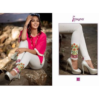 LEGGINGS WITH EMBROIDERY - White